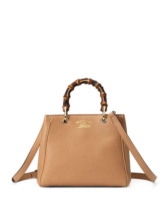 Bamboo Shopper Mini Bag, Beige