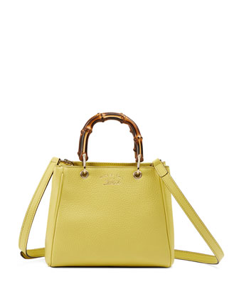 Bamboo Mini Shopper Leather Top Handle Bag, Citrus Green