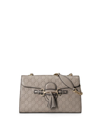 Emily Guccissima Leather Chain Shoulder Bag, Light Gray