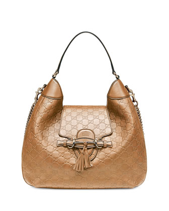 Emily Guccissima Leather Hobo Bag, Beige
