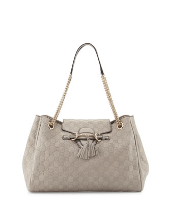 Emily Medium Guccissima Shoulder Bag, Light Grey