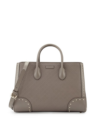 Bright Diamante Leather Top Handle Bag, Gray
