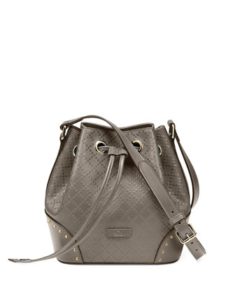 Bright Diamante Small Leather Bucket Bag, Gray
