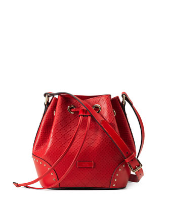 Bright Diamante Small Leather Bucket Bag, Red