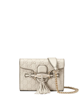 Emily Guccissima Mini Crossbody, White