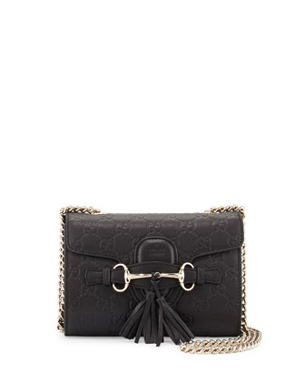 Emily Guccissima Mini Crossbody, Black