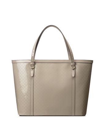 Nice Microguccissima Patent Leather Tote, Light Grey