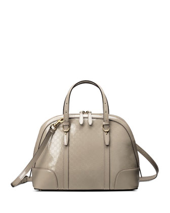 Nice Microguccissima Patent Leather Top Handle Bag, Light Grey