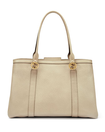 Miss GG Large Leather Tote Bag, Beige