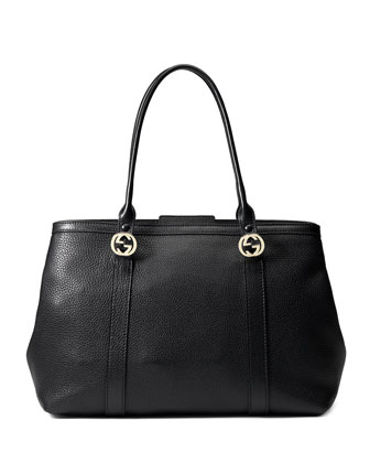 Miss GG Large Leather Tote Bag, Black