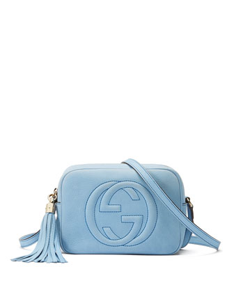 Soho Small Nubuck Shoulder Bag, Light Blue
