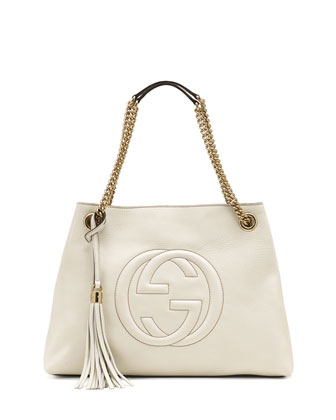 Soho Leather Medium Chain-Strap Tote, White