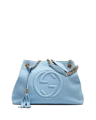 Soho Nubuck Leather Medium Chain-Strap Tote, Light Blue