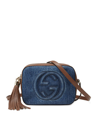 Soho Small Denim Shoulder Bag, Denim/Brown