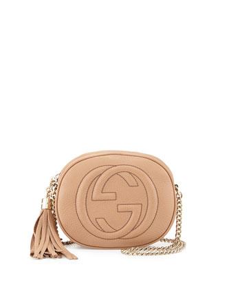 Soho Leather Mini Chain Bag, Beige