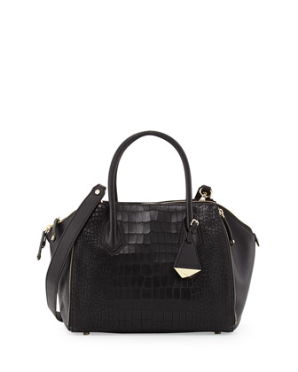 Perry Croc-Print Mini Satchel Bag, Black