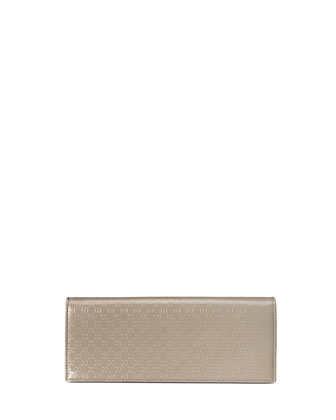 Broadway Microguccissima Patent Leather Evening Clutch, Light Grey