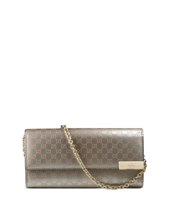 Dice Shiny Microguccissima Leather Chain Wallet, Gray/Light Pink