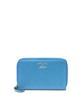 Swing Leather Mini Zip Around Wallet, Light Blue
