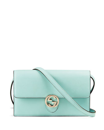 Icon Leather Wallet with Strap, Light Blue