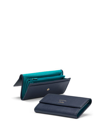 Swing Leather Continental Wallet, Blue/Light Blue