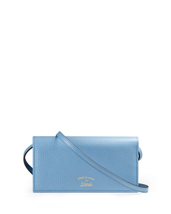 Swing Leather Wallet with Strap, Light Blue