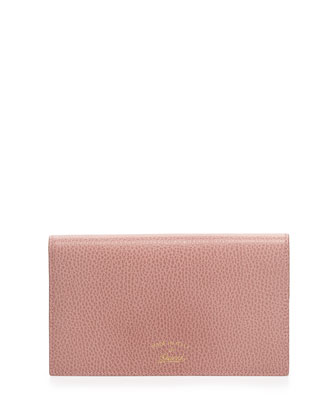 Swing Leather Wallet with Strap, Light Pink