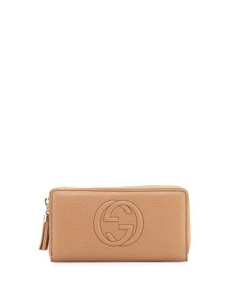Soho Leather Zip-Around Wallet, Beige