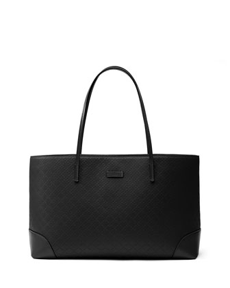 Bright Diamante Leather Tote, Black