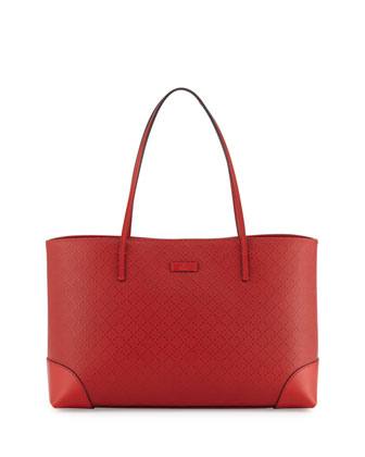 Bright Diamante Leather Tote, Red