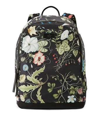 D-Active Flora Knight Print Canvas Backpack, Black