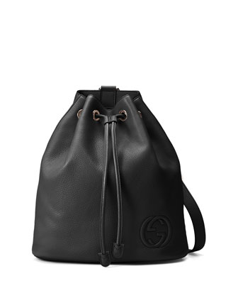 Soho Leather Drawstring Backpack, Black