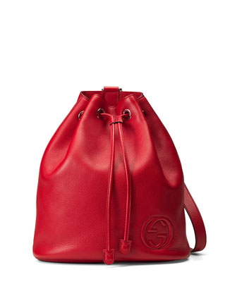 Soho Leather Drawstring Backpack, Red