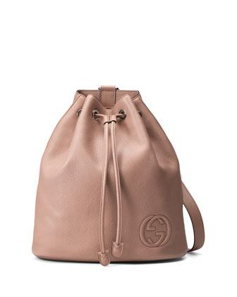 Soho Leather Drawstring Backpack, Neutral