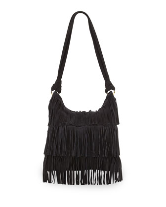 Mr. Hudson Suede Fringe Shoulder Bag, Onyx