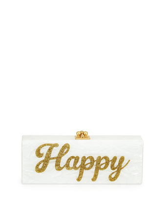 Flavia Acrylic Happy Clutch Bag, White/Gold