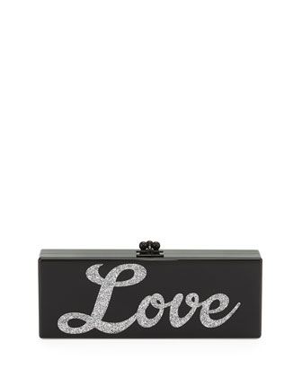 Flavia Acrylic Love Clutch Bag, Black/Silver