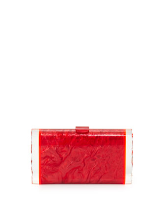 Lara Acrylic Ice Clutch Bag, Red