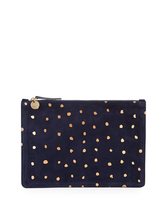 Dot Suede Zip Clutch Bag, Navy/Rose Gold