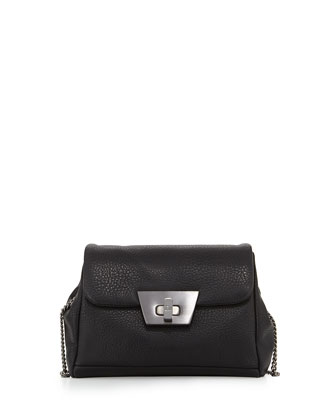 Jenna Faux-Leather Crossbody Bag, Black