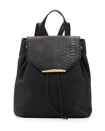 Sloane Small Faux-Leather Backpack, Black