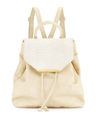 Sloane Snake-Embossed Faux-Leather Combo Backpack, Bone