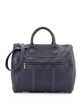 Mr. Warner Bubbled Leather Satchel Bag, Indigo