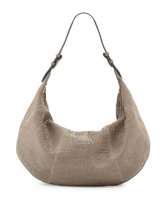 Mr. Cooper Bubbled Leather Hobo Bag, Slate