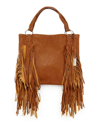 Castaway Small Fringe Shoulder Bag, Tan