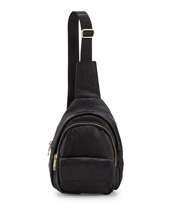 Small Crocodile-Print Backpack, Black