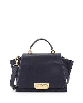 Eartha Crocodile-Print Satchel Bag, Navy