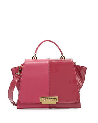 Eartha Contrast Textured Flap-Top Satchel Bag, Orchid