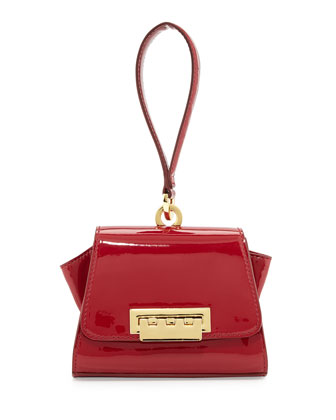 Eartha Two-Tone Faux-Leather Mini Wristlet, Cranberry