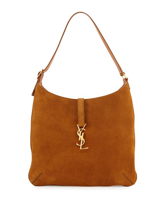 Monogramme Medium Flat Suede Hobo Bag, Camel